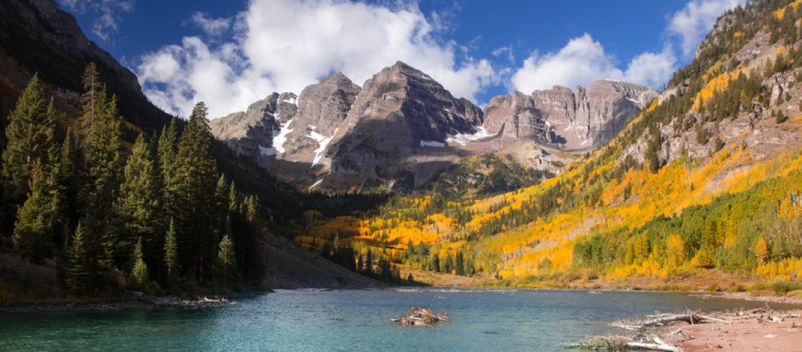 Scenic Maroon Bells landscape in autumn time near Aspen Colorado