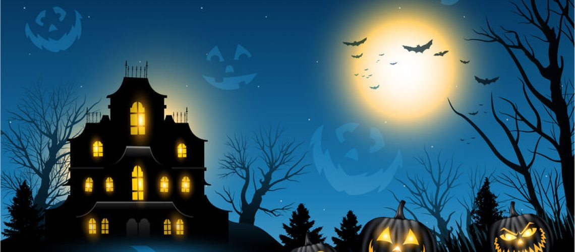 Horizontal Halloween haunted house copyspace background