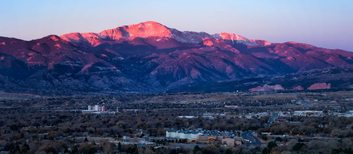 Sunrise on Pikes Peak above Colorado Springs, Colorado | Cobb Team