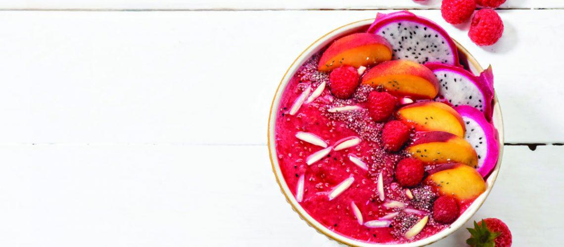 Raspberry, Dragon Fruit, and Peach Smoothie Bowl